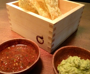 CHIPS AND DIPS -  Rice crackers, avocado shiso, tomato jalapeno £6.00
