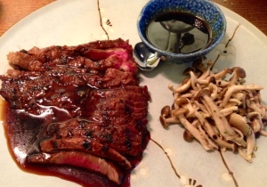 FLAT IRON STEAK with BBQ sauce and pickled shimeji £15.00