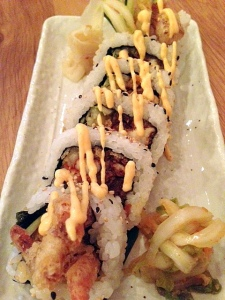 Soft Shell Crab Tempura Sushi-Maki with Kimchee and Kimchee Mayo
