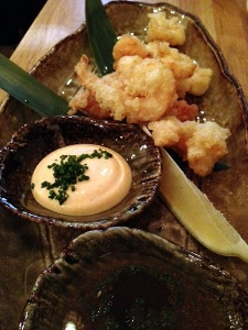 Rockshrimp Tempura with Spicy Mayo and Warm Ponzu Dipping Sauces