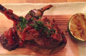 Tea Smoked Lamb Chops with Smoky Nasu and Spicy Korean Miso